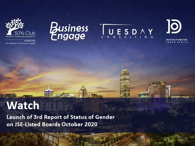 Launch of 3rd Report of Status of Gender on JSE-Listed Boards October 2020